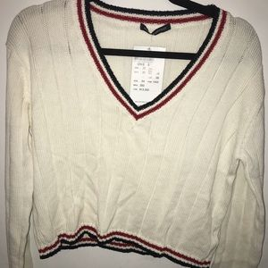 NWT brandy Melville stripped sweater v neck